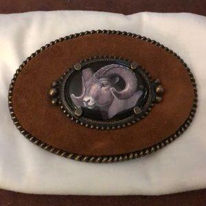 Handmade Ram belt buckle by Julie Zsupnik